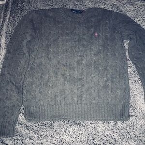 Ralph Lauren cable knit gray pink sweater